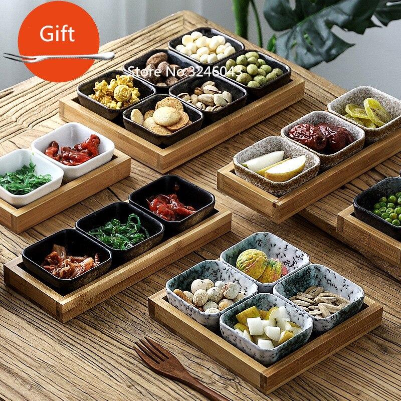 Креативная керамическая сетки Фруктовая тарелка для закуски пластины сервировочное блюдо японская маленькая тарелка с подносом домашних настольных высушенный плодоовощ закуска лоток-0