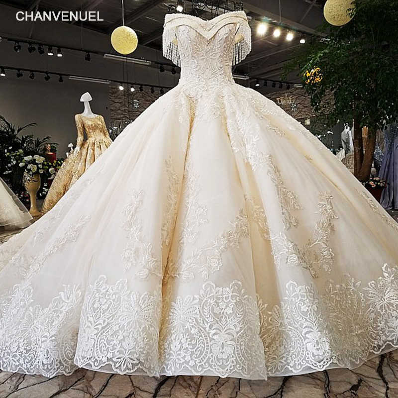 fce11cd8fd53b LS54110 2018 Luxury wedding dress sweetheart ball gown lace up ivory and champagne  bridal wedding gowns