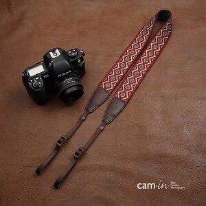 Image 4 - cam in CAM7416 embroidery webbing Cow Leather Universal Camera Strap Neck Shoulder Belt General Adjustable Lanyard