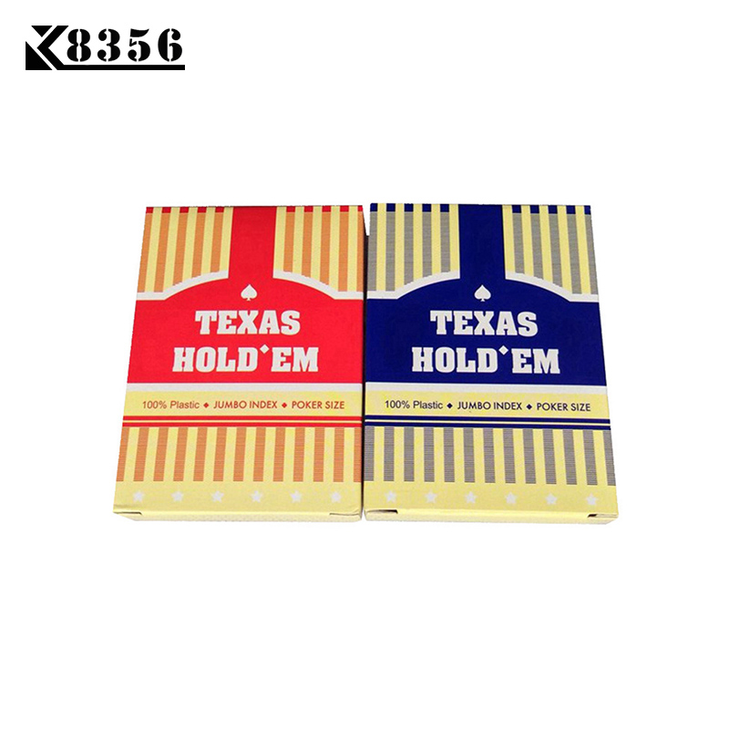 K8356 Hot 100 Sets / Lot Grosir Texas Hold'em Plastik Bermain Kartu Tahan Air Frosting Poker Kartu Papan Game 2.48 * 3.46 inch