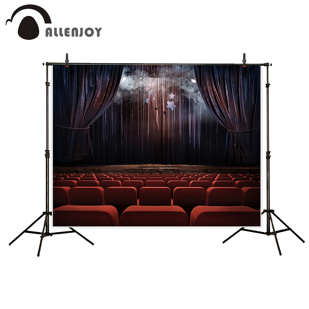Allenjoy vinyl photographic background Stage curtain theater Light Performance backdrop newborn original design fantasy props allenjoy background for photo studio full moon spider black cat pumpkin halloween backdrop newborn original design fantasy props