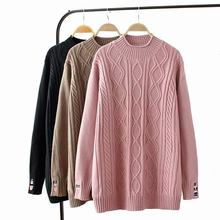 47cbba69b03 Plus size black   pink   Khaki Embroidered winter women pullovers 2018  Turtleneck Knitted ladies oversize sweater wool female
