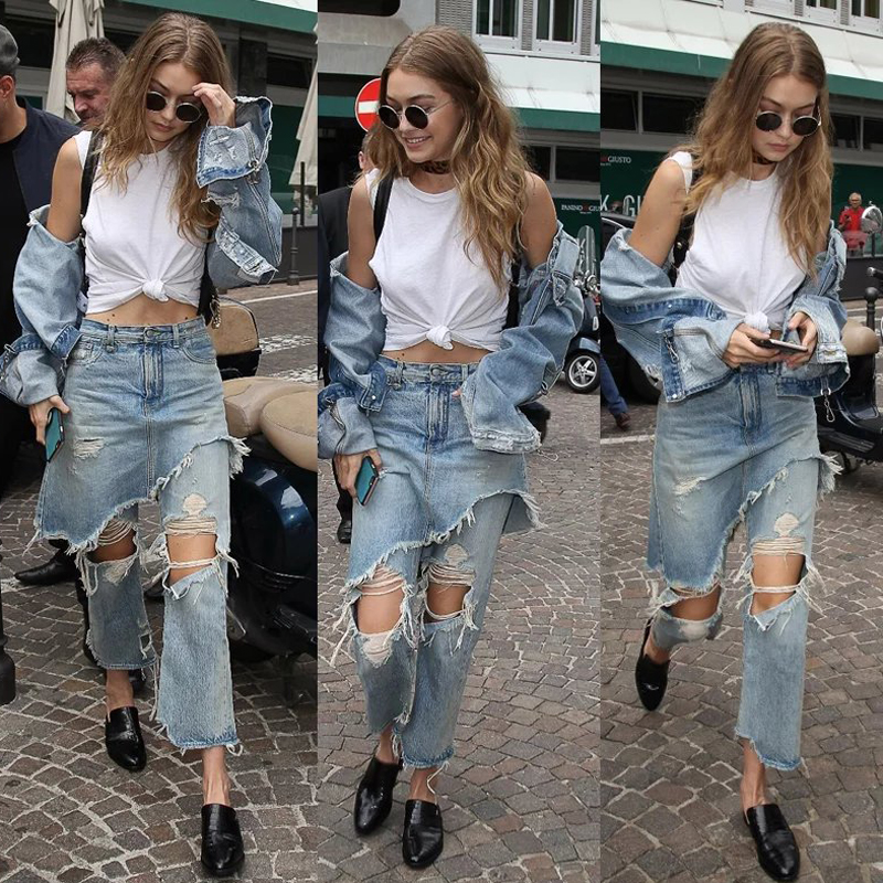 New Youth   Jeans   Woman Trousers Ankle-Length Straight High Waist   Jeans   Lady broken Hole Design Irregular Layers   Jeans   Casual S490