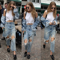 New Youth Jeans Woman Trousers Ankle Length Straight High Waist Jeans Lady broken Hole Design Irregular Layers Jeans Casual S490