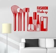 ויניל קיר אפליקצית אופנה יופי סלון ילדה קוסמטיקה מדבקות קיר קישוט יופי סלון חלון התייחסות קישוט 2MY4