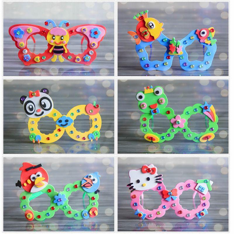 8pcs Children DIY Handmade EVA Cartoon Glasses Toys/ Kids Baby Kingergarden School Art Craft Educational Toys, Free Shipping
