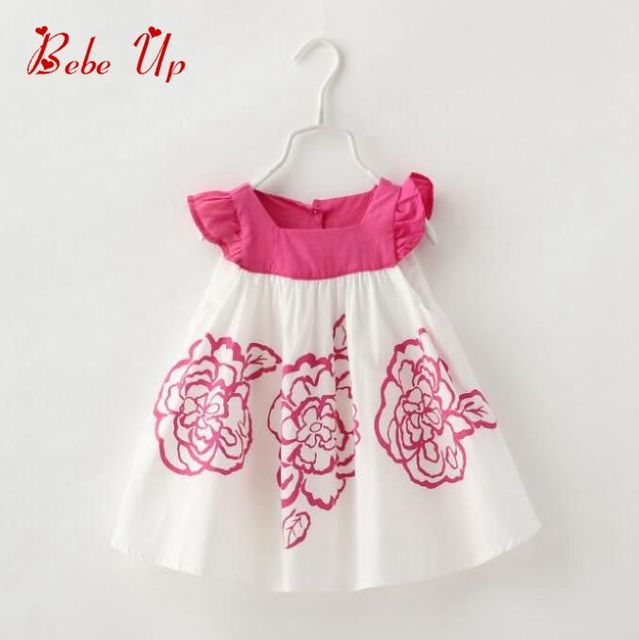 7e54c5f17 Baby Girls Flower Print Dress Ruffles Toddler Kids Floral Cotton ...