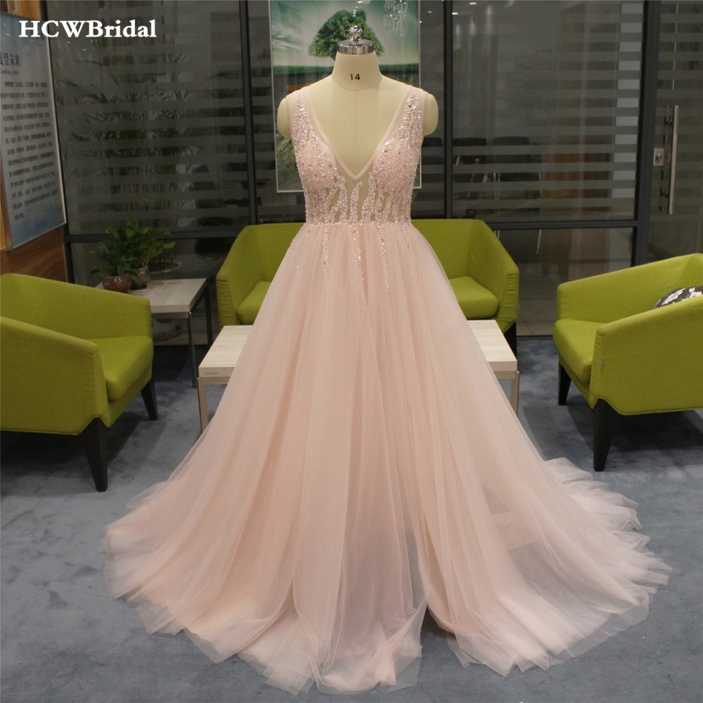 Amazing Beaded Illusion Tulle Long   Evening     Dress   2019 V Neck Backless High Split Sexy Prom Party Gowns Women Formal   Dresses
