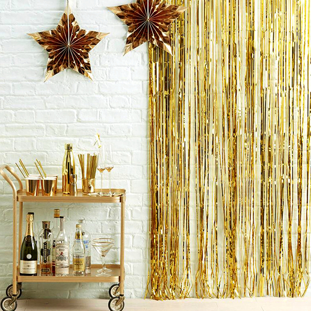2M 3M altın gümüş metalik folyo Tinsel Fringe perde doğum günü partisi dekorasyon düğün fotoğraf Backdrop perde fotoğraf sahne