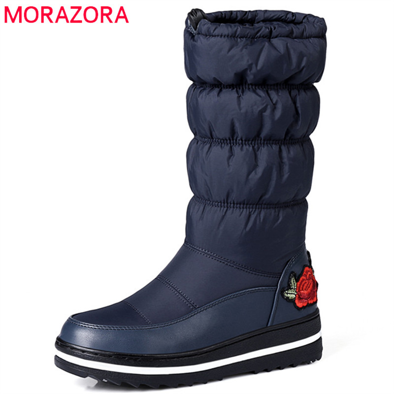 MORAZORA Big size 35-44 snow boots keep warm down winter boots for women platform shoes embroidery fashion shoes half high boots fawn warm women s snow boots ming blue size 37
