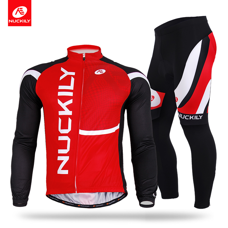 NUCKILY Mens Spring/Autumn Cycling Suit Long Sleeve Full Length Cycle Jersey Riding Apparel CJ137CK137