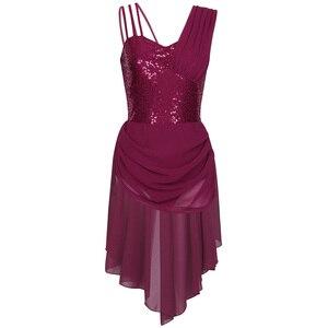 Image 4 - 스팽글 여성 민소매 쉬폰 발레 댄스 레오타드 드레스 성인 서정적 인 현대 무용 연습 의상 레오타드 투투 드레스