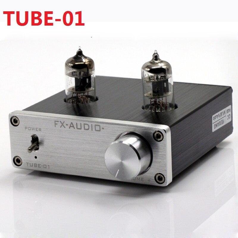 2017 Nova TUBO-01 FX-AUDIO Mini Amplificadores de Áudio Áudio Pré amplificador Amplificador Valvulado HIFI DAC Buffer 6J1 DC12V/ 1A Vermelho LEVOU Tubo Lâmpadas