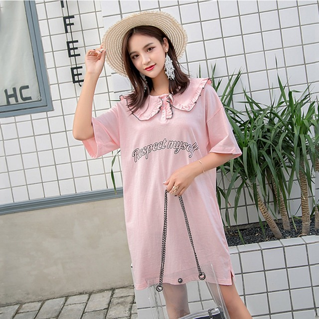 1adffaccdec17 Summer Maternity Sweet Dress Peter Pan Collar Short Sleeve Cotton Dress For Pregnant  Woman Loose Style Causal Maternity Clothes