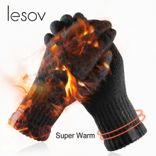 Lesov зимние вязаные шерстяные перчатки для сенсорного экрана мужские теплые короткие плюшевые накладки полный палец спортивные велосипедные перчатки варежки Guantes Новые