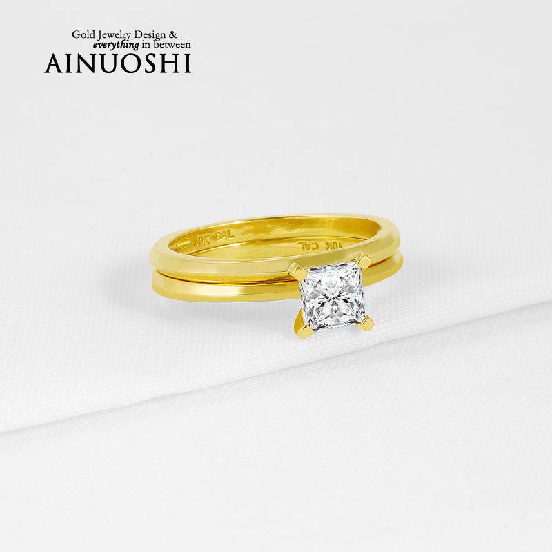 Trendy 10K Yellow Gold Wedding Fine Jewelry Bands Solitaire Princess Cut Sona Simulated Diamond Ring Sets for Women Engagement