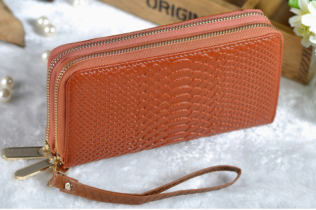 Women Real Genuine Leather Big Capacity Wallets Famous Brand Fashion Double Zipper Lady Clutch Bag purse with Hand Strap