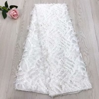 White Color High Quality African Lace Fabric 2018 French 3D Appliqued Net Lace Fabric Embroidered Tulle Mesh Lace for Wedding
