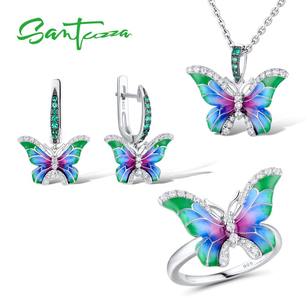 SANTUZZA Jewelry Set HANDMADE Enamel CZ Stones Butterflies Ring Earrings Pendent Necklace 925 Sterling Silver Women Jewelry SetSANTUZZA Jewelry Set HANDMADE Enamel CZ Stones Butterflies Ring Earrings Pendent Necklace 925 Sterling Silver Women Jewelry Set