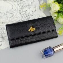 Высококачественный модный женский бумажник, длинный женский кошелек из натуральной кожи, роскошный брендовый кошелек, женский клатч, женские бумажники из натуральной кожи