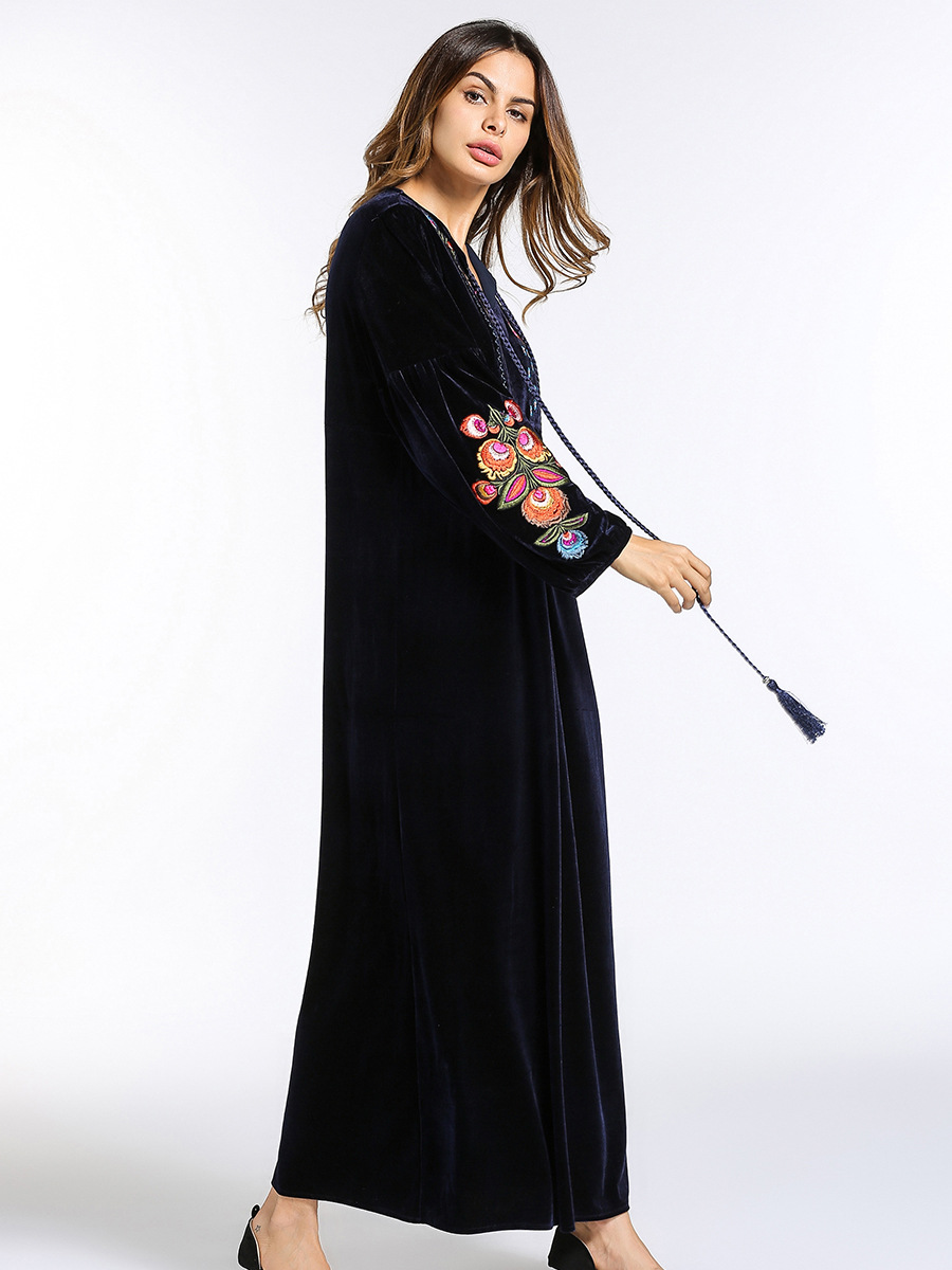 185465 fashion women Middle East Muslims long sleeves big size women 39 s dress velvet embroidered Arabia robe dresses hijab in Islamic Clothing from Novelty amp Special Use