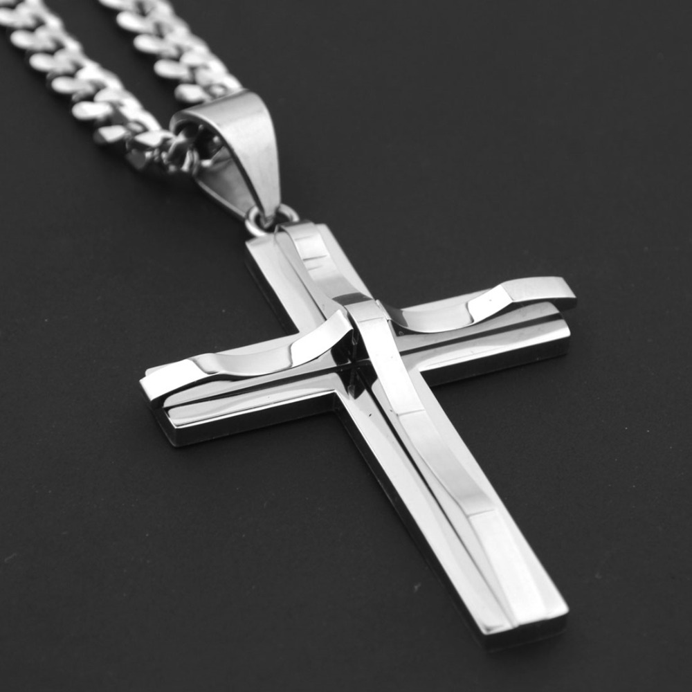 Fashion Hipper Stainless Steel Silver Tone Vintage Christian Smooth Cross Pendant 5mm Cuban Chain Necklace Men's Women's Jewelry
