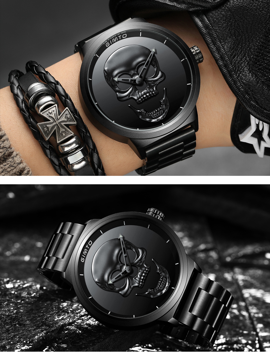 2018 Cool Punk 3D Skull Men Watch Brand GIMTO Luxury Steel Gold Black Vintage Quartz Male Watches sport clock Relogio Masculino 20