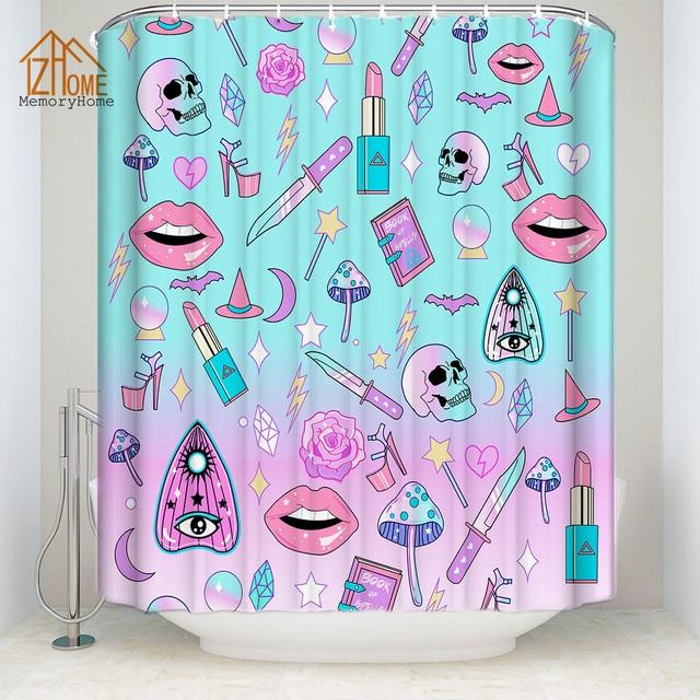 Memory Home Custom Funny Unique Fabric Cartoon Shower Curtain Skull Lips Lipstick Bathroom Waterproof Curtains