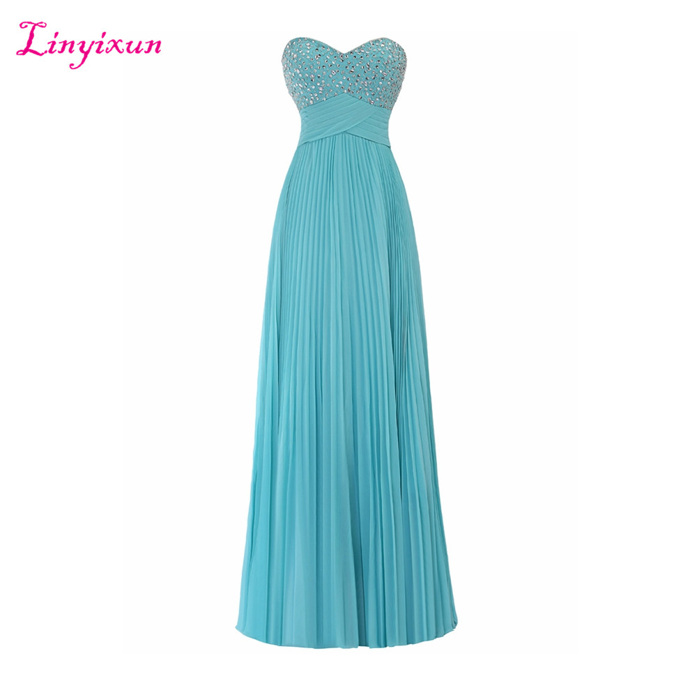 Linyixun Real Photo Chiffon A line   Prom     Dresses   2017 Sweetheart Sleeveless Beaded Floor Length Evening Party   Dresses   With Pleat