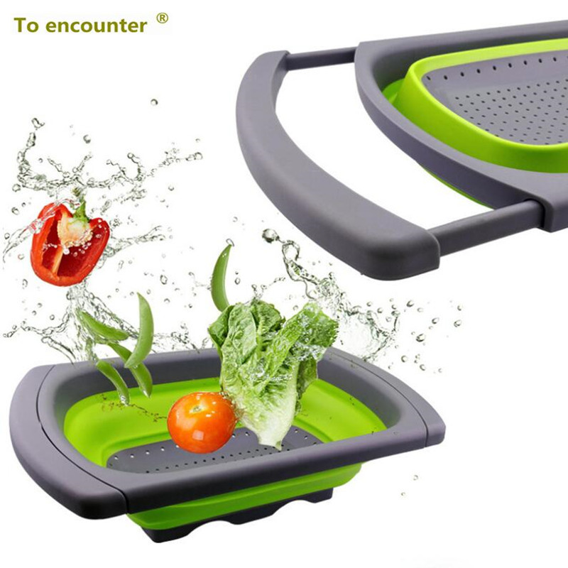 Deux Formes un Ensemble Pliable Cuisine Passoire Fruits Légumes Passoire Égouttoir À Laver Panier En Plastique Vidange Vegatable Panier