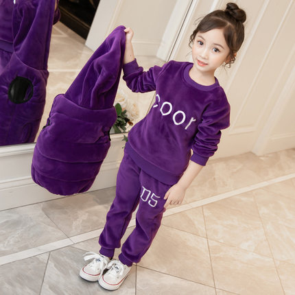 New Girls Gold Velvet Clothing Sets 3 Pcs Fall Winter New Children's Thickening Warm Cotton Padded Clothes Kids Sports Suit D21 girls clothing sets cotton velvet fashion pink sports suit brand new 2017 autumn spring girls tracksuit kids clothes size 3 14