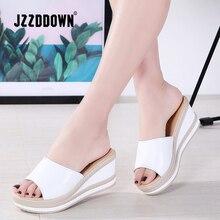 JZZDDOWN Zapatillas de piel auténtica para mujer, chanclas con punta abierta, sandalias con cuña para mujer, sandalias blancas y negras, sandalias deslizantes