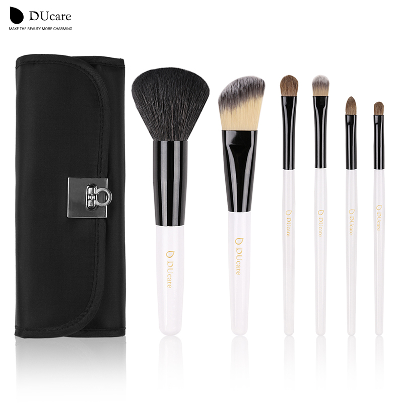 DUcare  Makeup Brushes Sets 6Pcs top goat hair and Weasel hair Foundation Kits with Roll Bags beauty essential brushes ducare professional makeup brushes set 6pcs cosmetic goat hairs weasel hair portable powder foundation eye brushes black bag