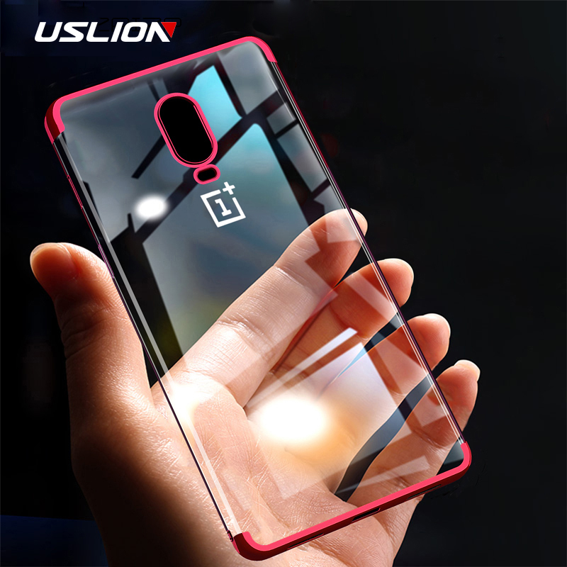 USLION Electroplate Soft Clear Phone <font><b>Case</b></font> for <font><b>Oneplus</b></font> 7 7 Pro TPU Silicone Plating <font><b>Case</b></font> for One Plus <font><b>6T</b></font> 6 5 5T Shockproof Cover image