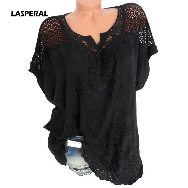 LASPERAL Plus Size 5XL Sexy Women Blouse Lace Hollow Tunic Tops 2018 Summer Short Sleeve Lady Office Shirt Casual Loose Blusa