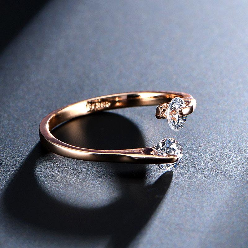 USTAR AAA Zirkon Trauringe für Frauen, die Rose Gold Farbe Kristall - Modeschmuck - Foto 3