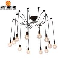 Lámpara colgante de araña nórdica Vintage LED de interior múltiples lámparas colgantes Retro ajustables accesorio decorativo clásico de desván (XE-50)