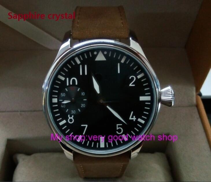купить Sapphire crystal 44mm PARNIS black dial Asian ST3600/6497 Mechanical Hand Wind movement green Luminous men's watches sd347a по цене 5507.8 рублей