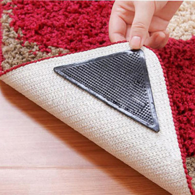 4pcs Non Slip Reusable Washable Silicone Grip Home Rug Carpet Mat Grippers