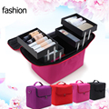 New Style Women Cosmetic Bags&Case High Quality Makeup Box Cosmetic Multilayer Professional High Capacity Three Layers Cosmetic