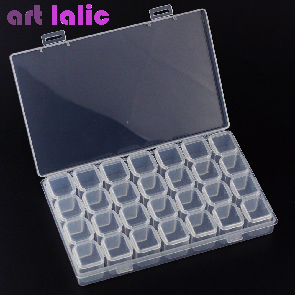 28 Grids Separate Slots Empty Storage Box Grids Clear Nail Art Rhinestones Tools Jewelry Beads Display Storage Case Organizer