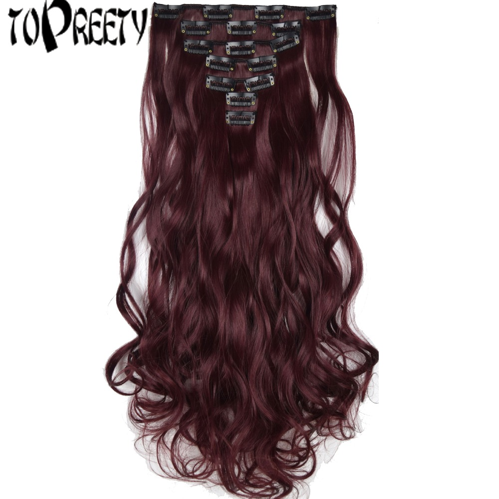 TOPREETY Heat Resistant B5 Synthetic Hair 130gr 20 50cm Body Wave Clip in Hair Extensions 7pcs/set Full head