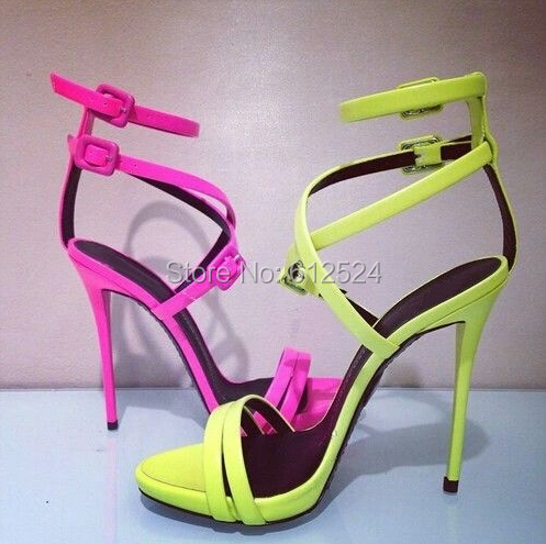 Aliexpress.com : Buy Hot pink/Yellow Fashion Sandals strappy ...