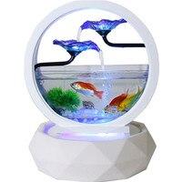 Mini Aquarium For Office Home Fish Tank Aquariums Circulating Water Light Fish Breeding Box European Style Ceramics Aquarium New