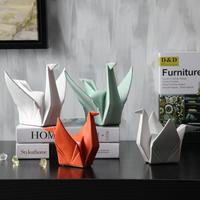 Nordic Modern Abstract Ceramic Bird Statue Animal Origami Sculpture Home Decoration Desktop Furnishing Crafts Wedding Gift 05465