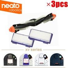 Cepillo de rodillo combinado de repuesto + filtro HEPA para Neato XV 21 XV Signature Pro, 1 uds., XV 11, XV 12, cepillos de rodillo curvo