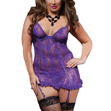 Women Sexy See Through Lace Deep V Neck Babydoll Lingerie Backless Perspective Plus Size Nightgowns