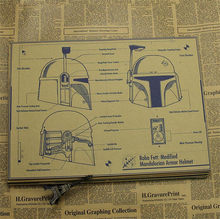 Clásico Vintage Star Wars Boba Fett armadura casco cartel de película retro papel Kraft Bar decoración del hogar cuadro adhesivo para pared 42x30cm(China)