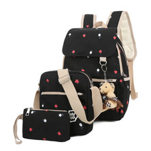 Цветок печати Школьные сумки для подростков Обувь для девочек модные женские туфли рюкзак милый студент Дорожные сумки Mochila 3 шт./компл. XM10
