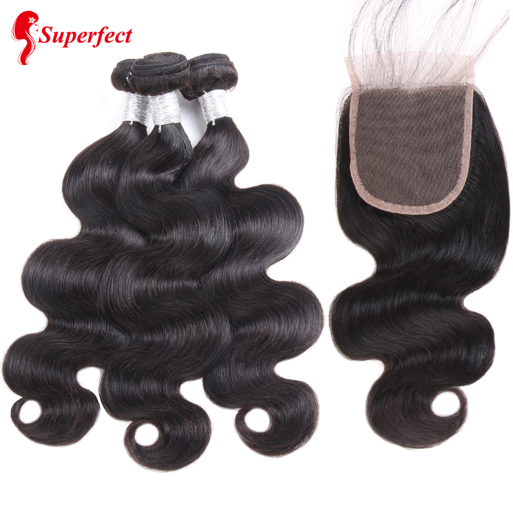Superfect Body Wave Human Hair Bundles With Lace Closure Brazillian Hair Weave Bundles With Closure Remy